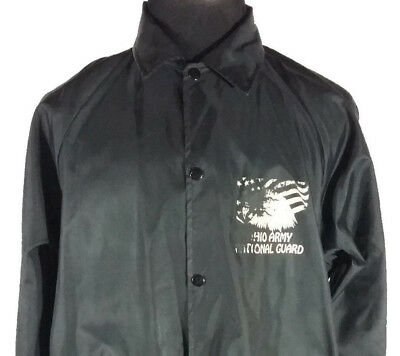 Ohio Army National Guard Mens Large Light Jacket Button Up Black Vintage 1970s
