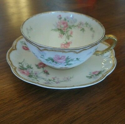 Haviland Limoges Pink and Blue Drop Rose Cup and Saucer Double Gold Scalloped
