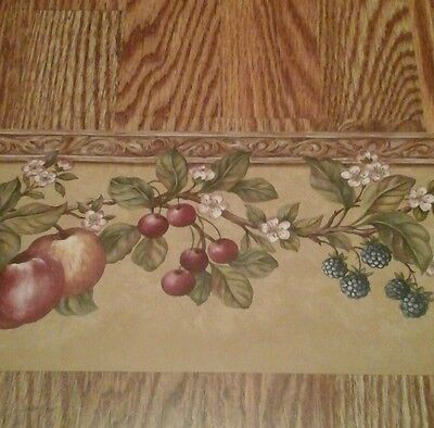 Brewster Fruit Berries Blossoms 5 yards Wallpaper Border B00206 Prepasted