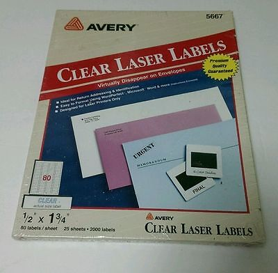 Avery 5667 Clear Laser Labels 12 X 1 34 2000 Count New