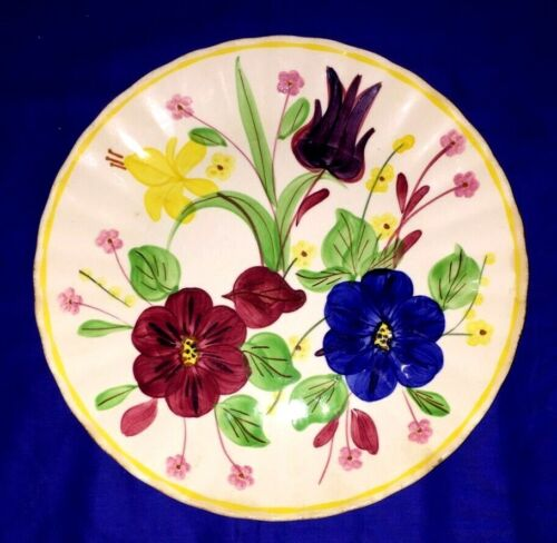 """Vintage Blue Ridge Nocturnal and Tulip 10 1/4"""" Dinner Plate"""