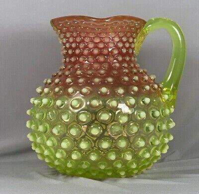 Hobbs Rubina Verde Hobmail Pitcher Vaseline Opalescent