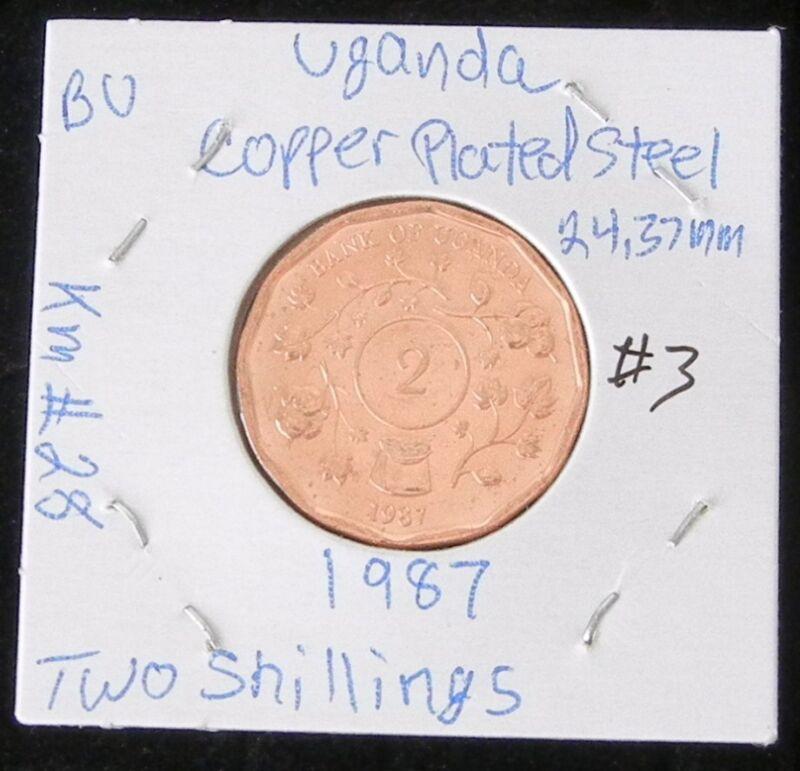 BEAUTIFUL UGANDA BRILLIANT UNCIRCULATED 1987 TWO  SHILLINGS COIN