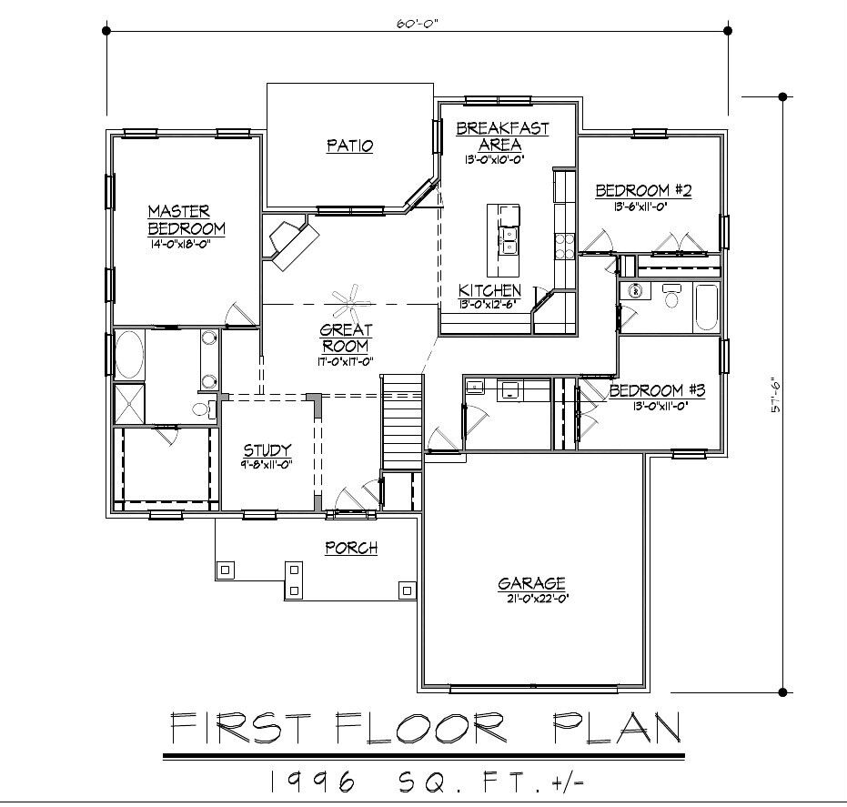 1996sf ranch house plan w garage on basement for Ranch house floor plans with basement