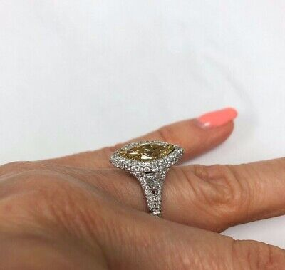 GIA 2.74Ct Marquise Fancy Brownish Yellow Diamond Engagement Ring 18k White Gold 6