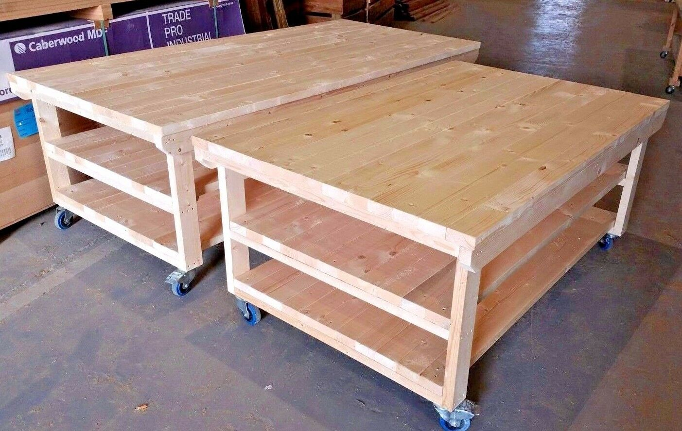 Workbench 4ft Wide With Wheels Wooden Industrial Garage