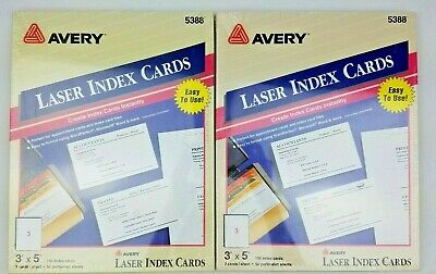 Lot 2 Avery Laser Inkjet Unruled Index Cards 3x5 White Perforated 150pack 5388