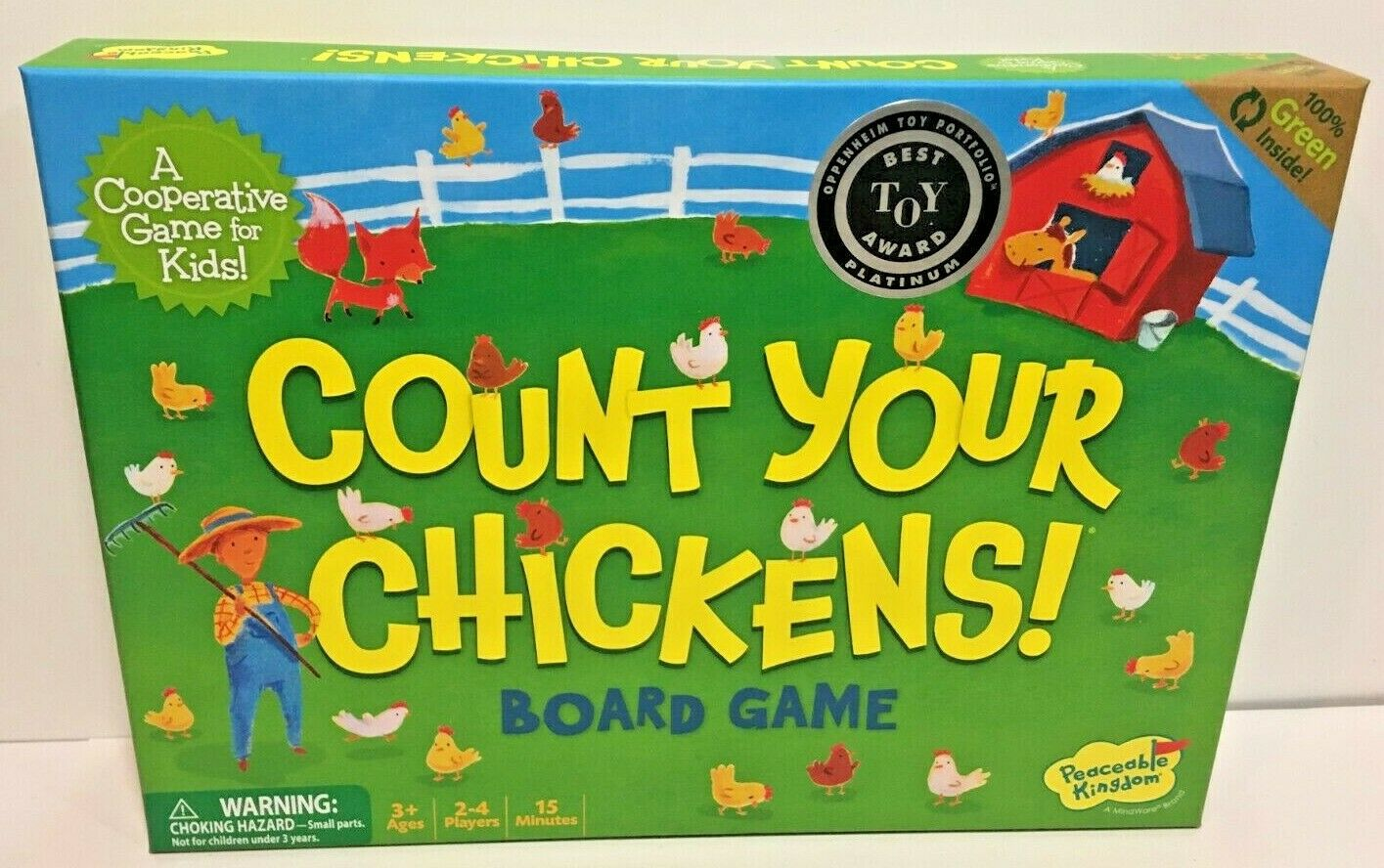 Count Your Chickens Counting Board Game for Kids Ages 3+ Peaceable Kingdom New