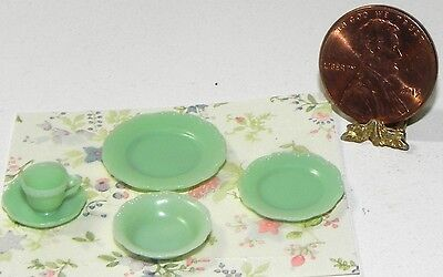 Dollhouse Miniature Dishes Jadite Cup and Saucer Set Chrysnbon 1:12 Scale