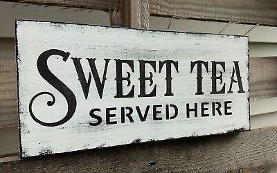 farmhouse wood sign SWEET TEA home wooden rustic country kitchen family 5.5x12