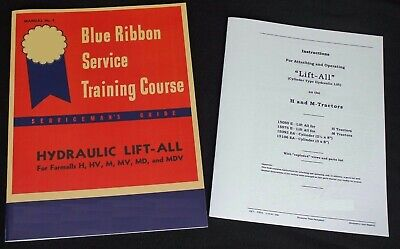 Hydraulic Belly Pump Lift-all Farmall H M Md Ih Shop Service Owners Manual Set
