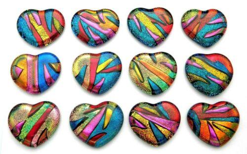 MULTI COLORS Lot of 12 pcs HEART DICHROIC FUSED GLASS pendant (BC5) CAB HANDMADE