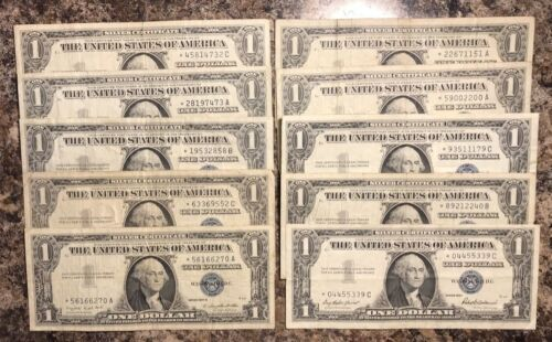 STAR NOTES! *Lot of 10 Silver Certificate STAR Dollar 1957 Bills FREE SHIPPING