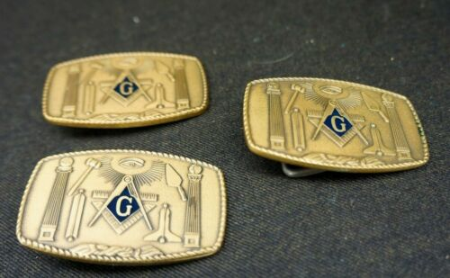 3 MASONS BELT BUCKLES Solid Brass MASONIC 1981 Harry Klitzner Providence RI ~ US