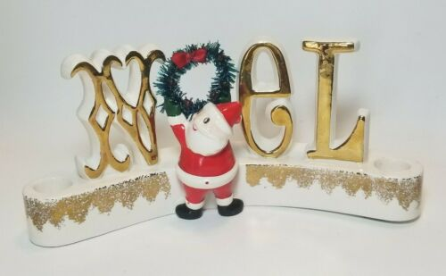 1959 Holt Howard Santa Noel Wreath Christmas Candle holder Figurine  9 1/2in