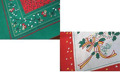 DECORATE FOR CHRISTMAS W/ HOLLY & FLOWERS! VTG GERMAN PRINT TABLECLOTH LOT OF 2