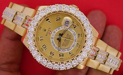 Rolex Sky-Dweller Yellow Gold 326938 Huge Bezel Iced Out Diamonds Baguette