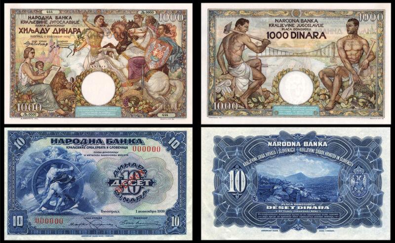 !COPY! YUGOSLAVIA 10 DINARA 1920 + 1000 DINARA 1935 BANKNOTES !NOT REAL!