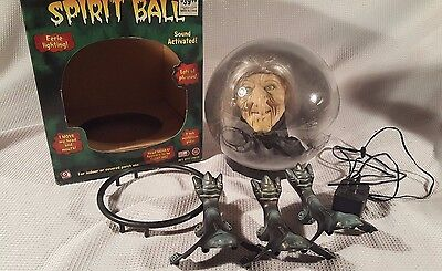 Animated Spell Casting Floating Witch Head Spirit Globe Ball Halloween Gemmy