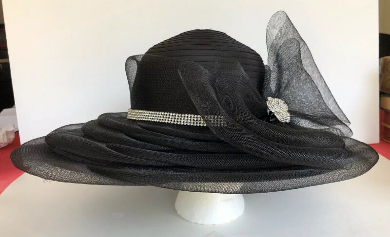 Beautiful Women's Black Church Derby Hat With Bow, Brooch, Mesh VGC Wide Rim