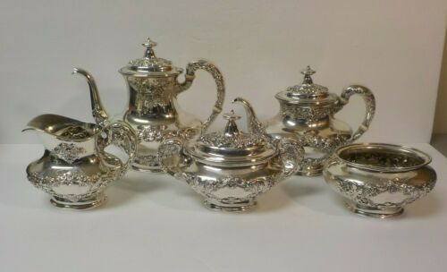 "Gorham BUTTERCUP Sterling Silver 5-Piece Coffee / Tea Set,  Monogram ""S"""