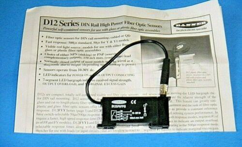 NEW Banner D12SP6FPQ Sensor DIN Rail High Power Fiber Optic for Plastic Fibers