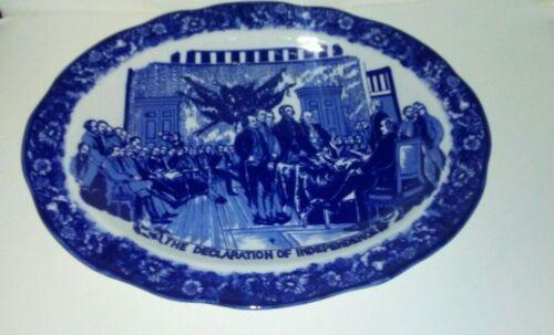 """Vintage Declaration of independence Liberty Blue 20"""" Platter"""