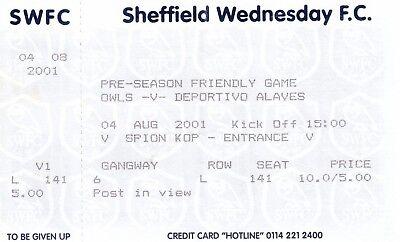 Ticket - Sheffield Wednesday v Deportivo Alaves 04.08.01 Pre-Season Friendly