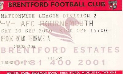 Ticket - Brentford v Bournemouth 30.09.00