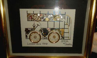 L Kersh Horological Collage Signed- 1918 London Bus -Vintage 1975 Steampunk