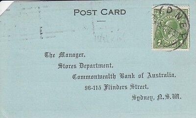 Occasion, A 539 Sydney NSW Commonwealth Bank Feb 1933 postcard; KGV green 1d stamp d'occasion  Expédié en Belgium