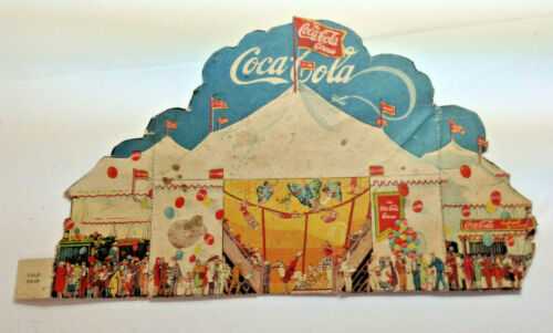 Vintage very early scarce Coke circus paper Coca Cola fold out ad color graphic