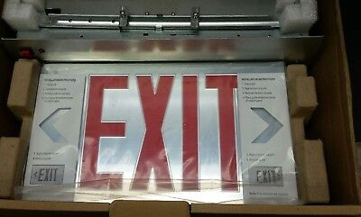 Best Lighting LED Double Faced Mirror Recessed Edge-Lit Exit Sign Red
