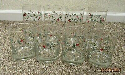8 Unused Phaltzgraff Winterberry Glasses 4 -15 oz Water & 4 - 12 oz Juice