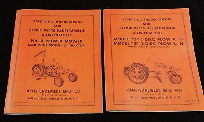 Allis Chalmers Model G 1 Disc Turning Plow No 4 Sickle Mower Owner Manuals Ac