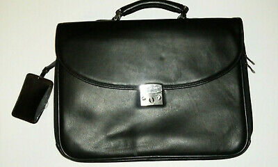 Samsonite Black Leather Flapover Laptop Business Case