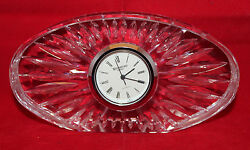 Waterford Crystal Oval Shaped Mantel Small Desk Clock Ireland 12cm 4 3/4 Wide