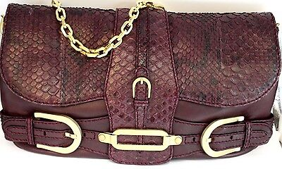 Jimmy Choo Python/Nappa Leather Handbag Plum Color