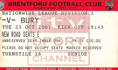 Ticket - Brentford v Bury 23.10.01