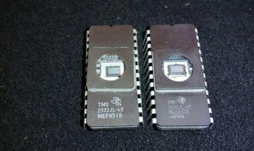 (2) TMS2532JL-45 TI Texas Instruments UV Erasable EPROM 32K 4K x 8