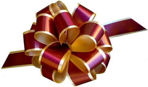 """Burgundy Gold Decorative Pull Bows - 5"""" Wide, Set of 10, Gift Bows"""