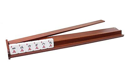 """Set of 4~ 18"""" Natural Color Wooden Mahjong Racks with Attachable Pushers"""