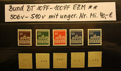 Brandenburger Tor 10-100PF Mi. 506-10 mit ug. Nr **  Mi. 40,-€  Rollenmarken