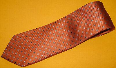 BORRELLI NAPOLI SEVEN FOLD ORANGE/GREEN DOTS TIE - NECK TIES - DESIGNER TIES. Dotted Mens Tie