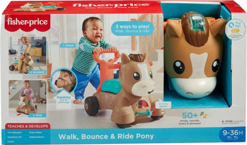 Fisher-Price Walk, Bounce and Ride Pony - Brown