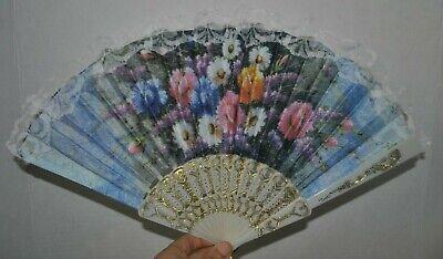 Plastic Hand Fan Abanico de Mano Bolsillo Floral Flores Dance Baile NEW segunda mano  Embacar hacia Argentina