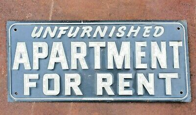 Rare Old Vintage Metal Sign UNFURNISHED APARTMENT FOR RENT Original Dallas TX