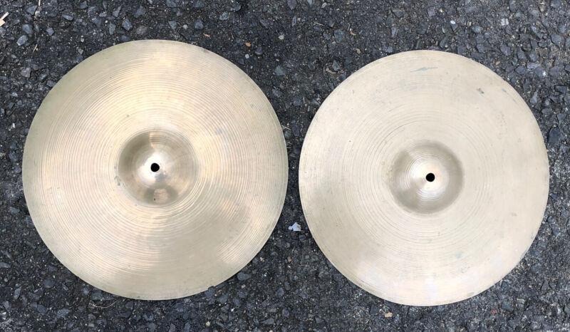 "Vintage A. Zildjian 14"" HiHats Trans Stamp Cymbals Set"