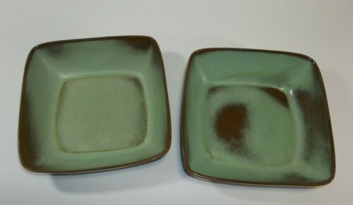 "Frankoma 5NS 8.25"" Square Serving Bowl Prairie Green Lot of 2 Vintage USA"