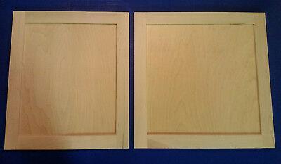 - 2 Maple Shaker Style Unfinished Cabinet Doors Custom up to 15